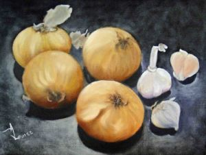 Still Life Onions and Garlic